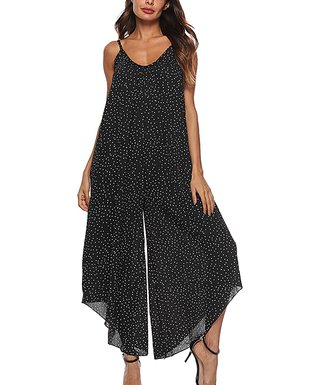 8362b763f449 Black Polka Dot Wide-Leg Jumpsuit - Women   Plus