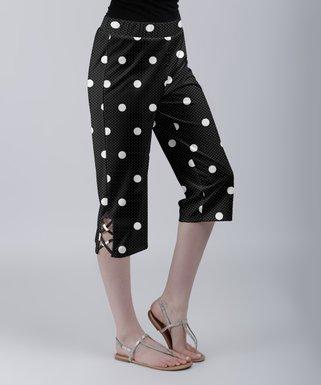9b4e656c5f5cd Black & White Polka Dot Crisscross-Accent Capri Pants - Women & Plus