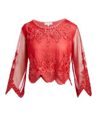 1bdeeb4a7d03c5 Pretty Angel | Red Sheer-Sleeve Embellished Scallop Silk-Blend Crop Top -  Women