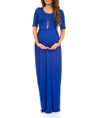 9312f7e614e0 Mother Bee Maternity | Royal Blue Pocket Ruched Maternity Maxi Dress -  Women & Plus