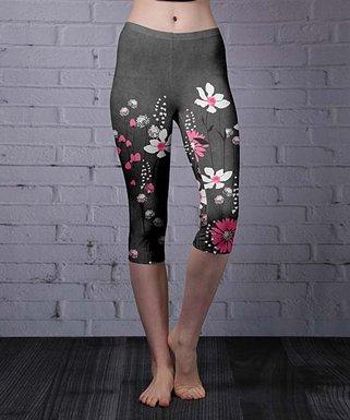 ae28757815b21 Gray & Pink Floral Capri Leggings - Women & Plus