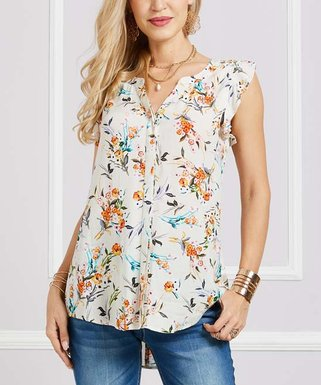 6af38683 White Floral Button-Up Flutter-Sleeve Tunic - Women & Plus