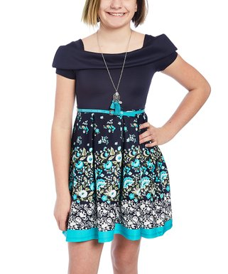 9cb3bd03e12d8 Navy Floral Off-Shoulder A-Line Dress Set - Girls
