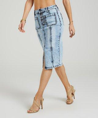 594d9aa319 Light Sun-Fade Wash Front-Slit Pencil Skirt - Women & Plus