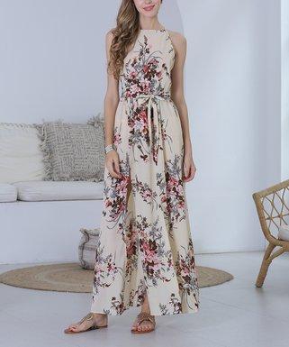 45fb85cc96d6d Apricot Floral Waist-Tie Side-Slit Maxi Dress - Women & Plus