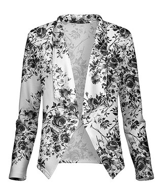 29a64acd03be Black & White Floral Open Blazer - Women & Plus