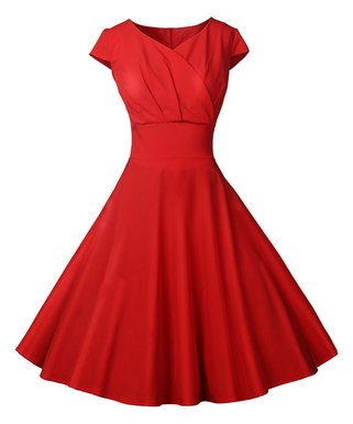 fe3d46570c8 Red Surplice Tea-Length Vintage Fit   Flare Dress - Women   Plus