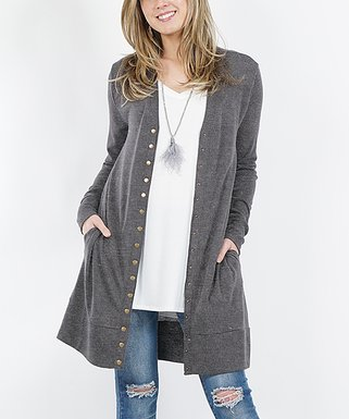 733236be3bb Charcoal Long-Sleeve Snap-Button Cardigan - Women