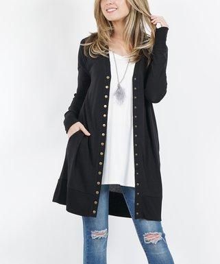 27d7292cb3 Black Snap-Button Sweater Cardigan - Plus