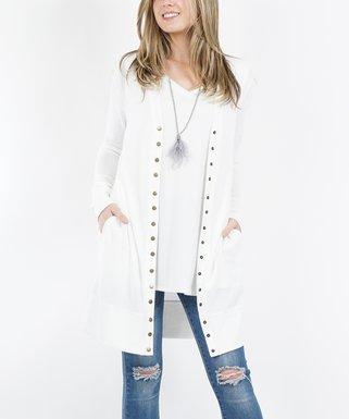 c221aecf77 Ivory Snap-Button Sweater Cardigan - Plus