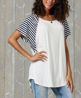 3299969e94a White   Navy Contrast-Sleeve Scoop Neck Tunic - Women   Plus