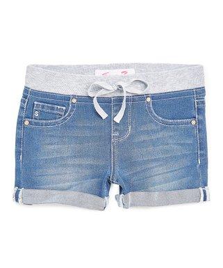 Evening Knit-Waist Denim Shorts - Girls bcce2df77cbe