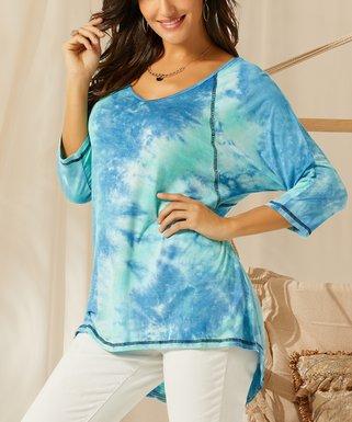 97eb87a443f Blue   Teal Tie-Dye Jersey Hi-Low Tunic - Women   Plus