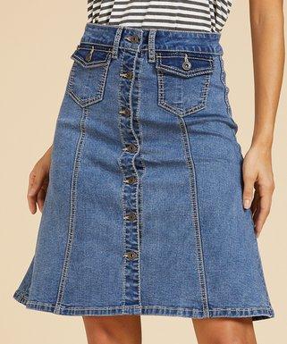 27e7a09fa9 Suzanne Betro Weekend   Medium Wash Patch Pocket Button Denim Skirt - Women  & Plus