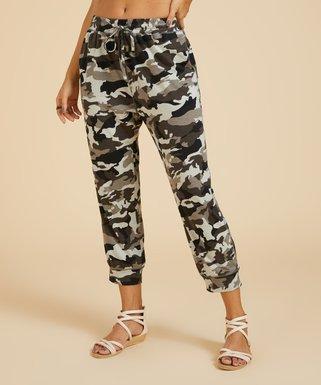 3751d14082 Simple by Suzanne Betro | Taupe Camo Tie-Waist Pocket Capri Pants - Women &