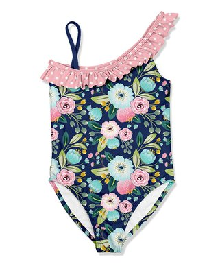 6573eb1f9a Millie Loves Lily   Navy Floral Asymmetrical One-Piece - Girls