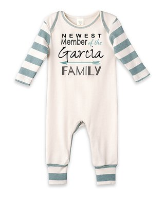 296e14acaf7 Ivory   Aqua Stripe  Newest Member  Personalized Playsuit - Newborn   Infant