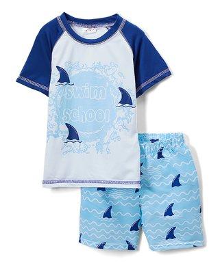 76f03214cc Blue 'Swim School' Sharks Rashguard Set - Infant & Toddler