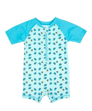 4175e26d155f8 Blue Fish Zip-Front Raglan One-Piece Rashguard - Infant