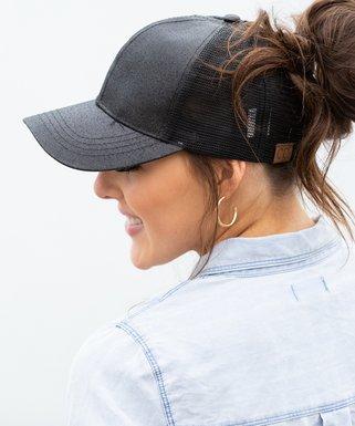 12e8c37c0da3d Black Glitter Ponytail Trucker Hat