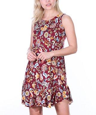 f6d71c2e47f Burgundy   Orange Floral Ruffle-Hem Sleeveless Dress - Women   Plus