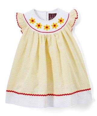 00d57c40fa96 Lil Cactus | Yellow Seersucker Sunflower Bishop Angel-Sleeve Dress - Infant,  Toddler &