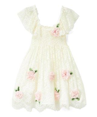 6f740001f Biscotti & Kate Mack | Ivory Floral-Accent Smocked Dress - Toddler & Girls