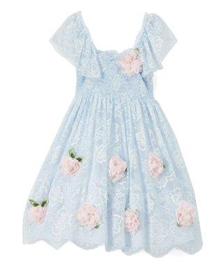 ff597d071 Biscotti & Kate Mack | Blue Floral-Accent Smocked Dress - Toddler & Girls