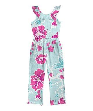 926c230a1ec Light Blue   Fuchsia Floral Yoke Jumpsuit - Girls
