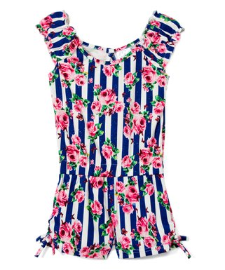 4e1570d71 Black & Fuchsia Stripe Floral Angel-Sleeve Romper - Infant, Toddler & Girls