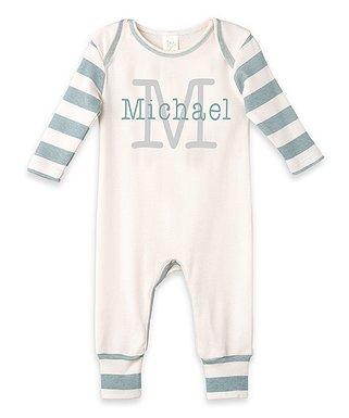 d2278cb5193d1 Ivory   Light Blue Stripe Personalized Playsuit - Newborn   Infant