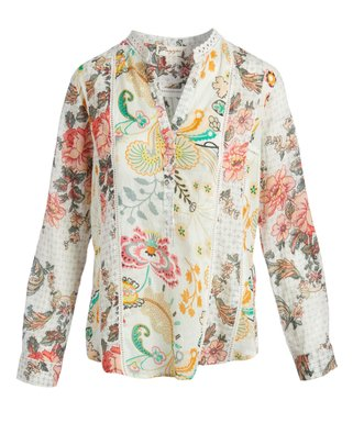 Cream   Pink Floral Lace-Accent Button-Front Long-Sleeve Top - Women f07dcab79