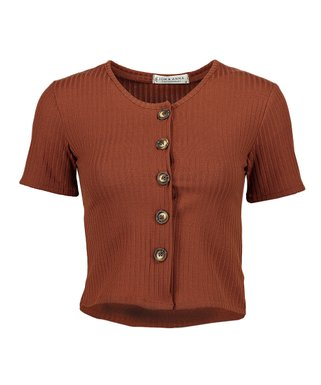 ce9dc218c6b0f1 Rust Ribbed Button-Front Crop Top - Women