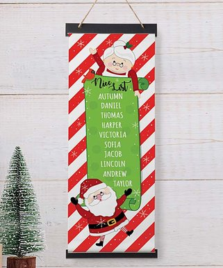 Red & White Personalized 'Nice List' Santa Hanging Canvas