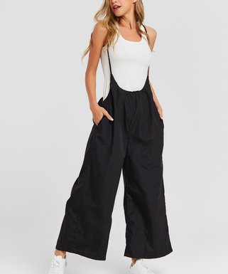 6f16418cb56 Black Wide-Leg Overall Jumpsuit - Women   Plus