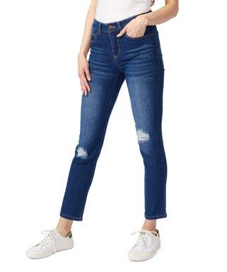 89b8d0e718b521 Vincente Jeans   Medium Indigo Five-Pocket Mid-Rise Distressed Boyfriend  Jeans - Women