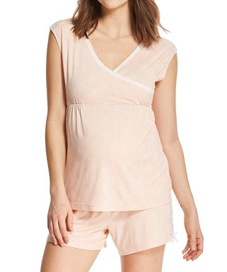 28012c6502c05 Lamaze Maternity Intimates | Peach Lace-Trim Maternity/Nursing Short Pajama  Set
