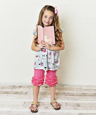 247c7f7753d1a Light Blue & Pink Llama Angel-Sleeve Top & Ruffle Capri Pants Set - Girls