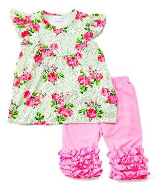 28524651b8ac3 Green Floral Angel-Sleeve Top & Pink Ruffle Capri Pants - Infant, Toddler &