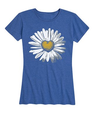 376edff61 Heather Royal Blue Daisy Heart Relaxed-Fit Tee - Women