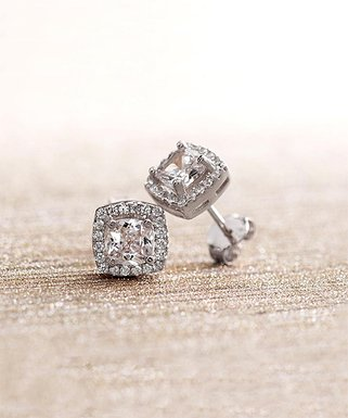 0d892673b 18K White Gold-Plated Square Halo Earrings with Swarovski Elements