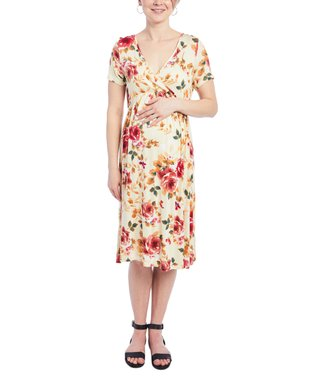 6cbebb9d1d9 Yellow   Pink Flora Nursing Empire Dress