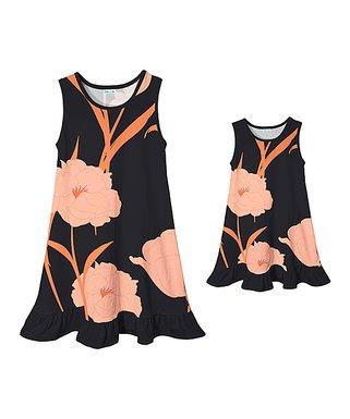 eb52366ca38 Black   Light Pink Floral Ruffle-Hem Sleeveless Dress - Girls