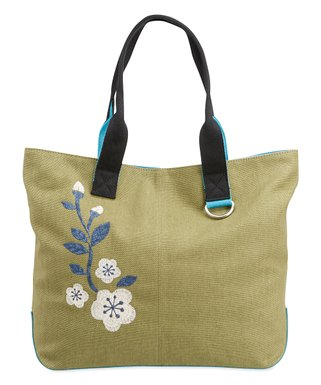eefb3c8531c26 Life is Good® | Fatigue Green Embroidered Floral Wayfarer Tote