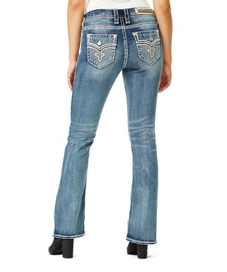 a5bb01067cc8f8 Rock Revival   Dark Wash Sanded Embellished-Back Easy Boot-Cut Jeans - Women