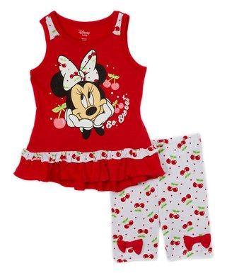 51a81822e Children's Apparel Network | Disney Red Minnie Cherry 'So Sweet' Tank &  Bike Shorts