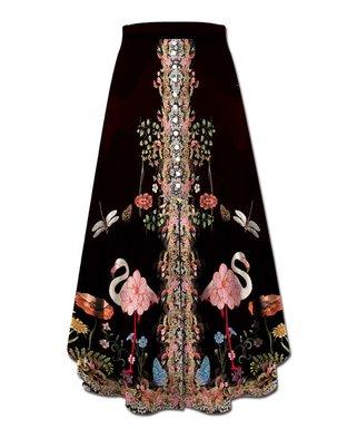 bf9d8756f4e8ec Black & Pink Flamingo Floral Button-Accent Front-Slit Maxi Skirt - Women &  Plus