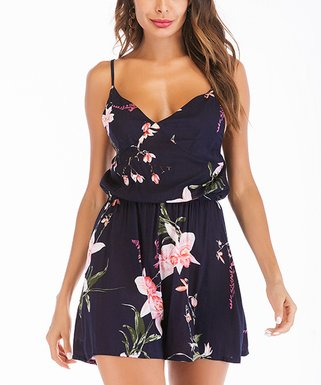 2563bf13b402 Amasoo   Dark Blue Floral Elastic-Waist Sleeveless Romper - Women