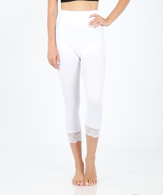 afb4ec7c11e725 White Lace-Trim High-Waist Capri Leggings - Women & Plus
