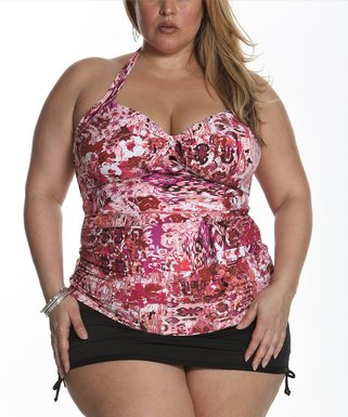 0dbd9b5905 Pink Abstract Halter Tankini Top & Black Side-Tie Skirted Bikini Bottoms -  Plus